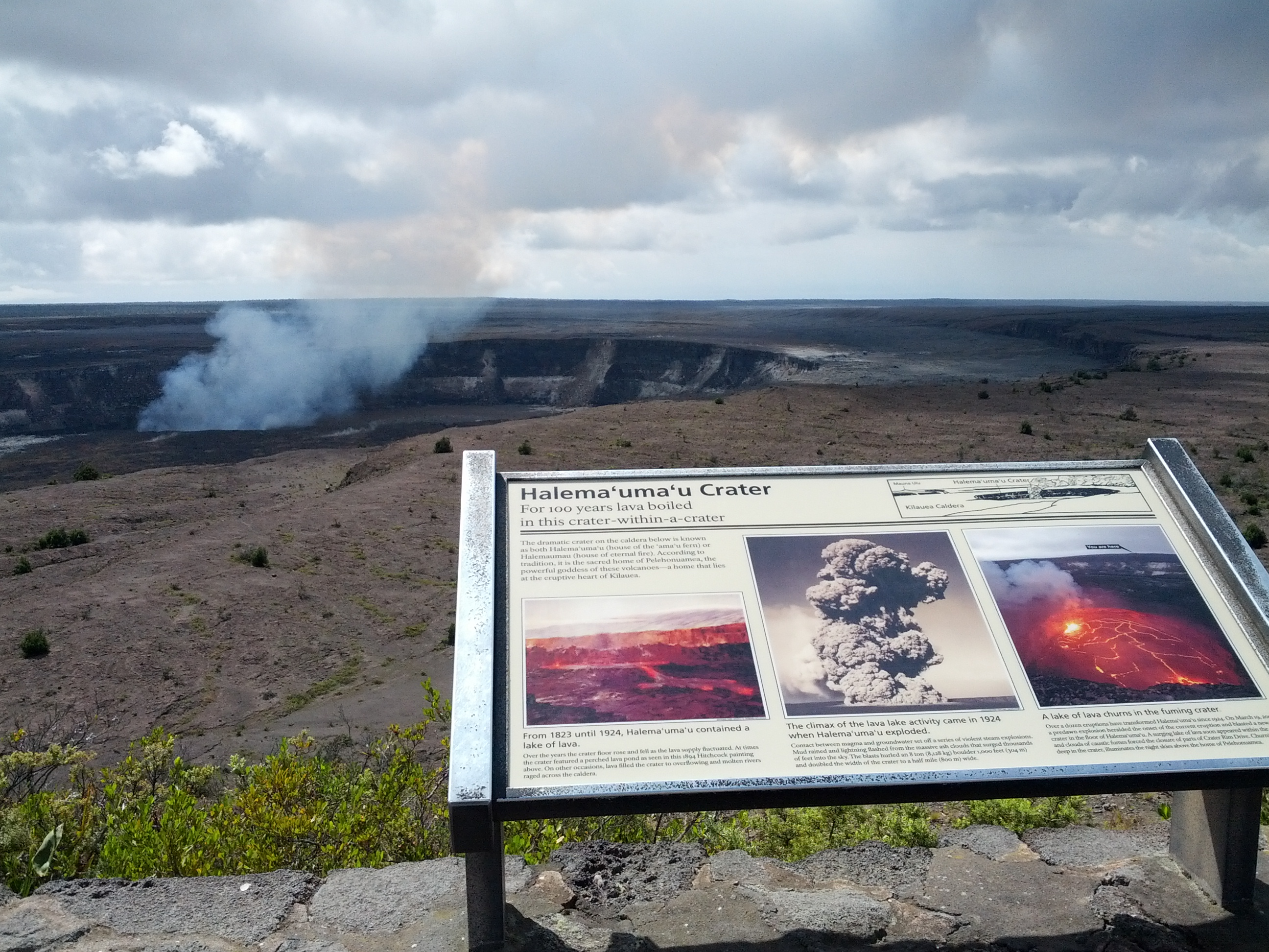 Halemaumau crater and Kilauea volcano actively erupting.