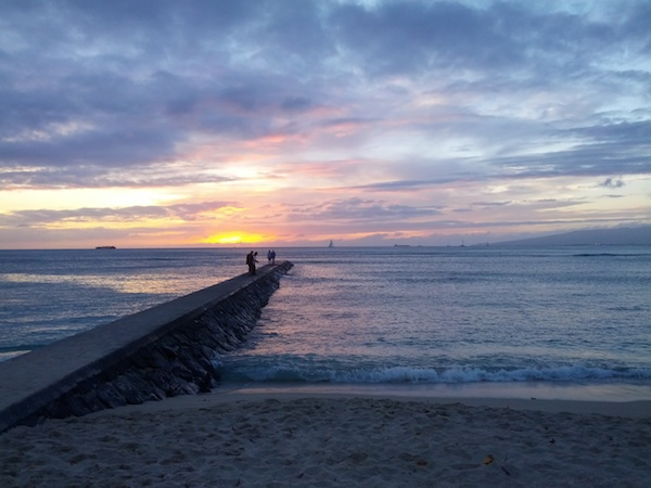 Spectacular viewing point to take in Waikiki's sunset (near The Wall), Oahu.