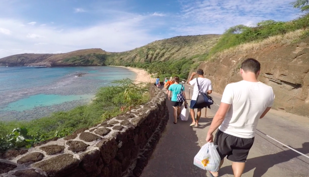 Hanauma Bay, Oahu - walking down hill