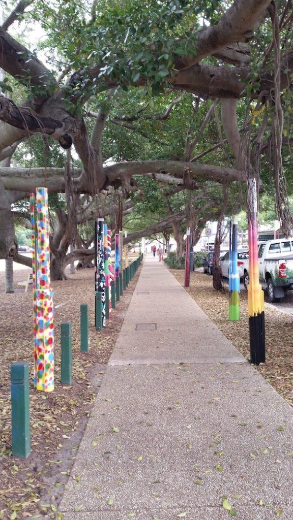 Colourful tree walkway along Oxford Street.